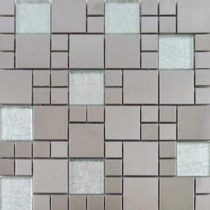 Metallic Silver Mix Mosaic Tile 29.7 x 29.7cm