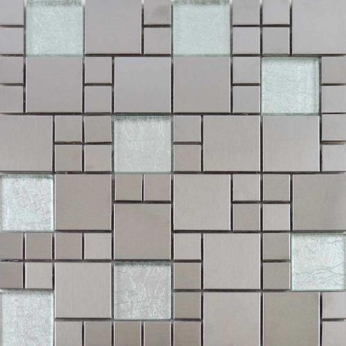 Metallic Silver Mix Mosaic Tile 29.7 x 29.7cm