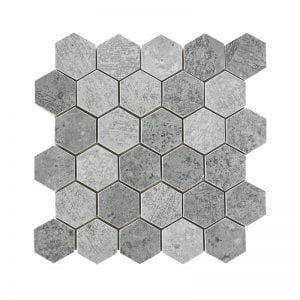 HD Concrete Grey Hexagon Mosaic - 285mm x 296mm